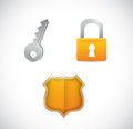 Security icons illustration design over a white background Stock Images