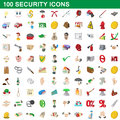 100 security icons set, cartoon style