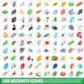 100 security icons set, isometric 3d style