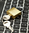 Security on internet, keyboard and lock macro Royalty Free Stock Photo