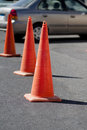 Security leading cone on street for roadblock Stock Image