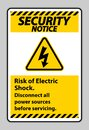 Security notice Risk of electric shock Symbol Sign Isolate on White Background Royalty Free Stock Photo