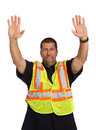 Security Officer Directing Isolated Stock Image