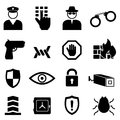 Security and safety icon set crime Royalty Free Stock Image