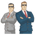 Security service two strong men in suits vector illustration Royalty Free Stock Photos