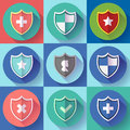Security shield icon set - protection symbols. Flat design style. Royalty Free Stock Photo