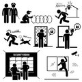 Security system stick figure pictogram icon a set of pictograms representing the different methods of Stock Image