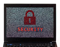 Security text with red lock over encrypted text on a laptop scre Royalty Free Stock Photo