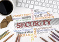 SECURITY word cloud. White office desk Royalty Free Stock Photo