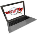 Security word magnifying glass laptop computer screen the under a on a to illustrate network or internet in the digital Royalty Free Stock Photography