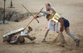Secutor gladiator on the sand Royalty Free Stock Photo
