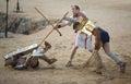 Secutor gladiator on the sand Royalty Free Stock Photo
