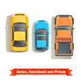 Sedan, hatchback cars and pickup truck top view