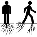 Sedentarism concept illustration showing a man standing rooted to the ground and then starting to move Stock Photo