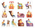 Sedentary Lifestyle Retro Cartoon Icons Set