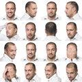 Sedici espressioni facciali di un uomo Fotografie Stock Libere da Diritti