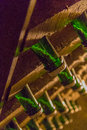 Sediment in champagne bottle close up view of the settling the neck of bottles racks Stock Photography