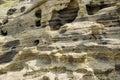 Sedimentary rock at yongmeori coast in jeju island multistory layered rough and strange rocks famous tourist site dragon head Stock Photography