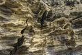 Sedimentary rock at yongmeori coast in jeju island multistory layered rough and strange rocks famous tourist site dragon head Stock Images