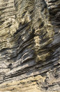 Sedimentary rock at yongmeori coast in jeju island multistory layered rough and strange rocks famous tourist site dragon head Stock Photography
