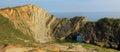 Sedimentary rocks lulworth cove, dorset Royalty Free Stock Photo