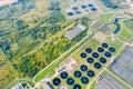 Sedimentation tanks of city wastewater treatment plant. aerial photo Royalty Free Stock Photo