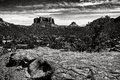 Sedona az black and white scenic landscape bell rock arizona Royalty Free Stock Photography