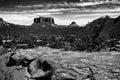 Sedona az black and white scenic landscape bell rock arizona Royalty Free Stock Photography