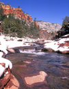 Sedona slide rock and winter snow red area in Stock Photography