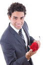 Seducer smiling with rose Royalty Free Stock Photo