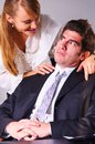 Seducing a boss businesswoman is her at office Royalty Free Stock Image