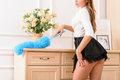 Seductive female  housekeeper cleaning the house Royalty Free Stock Photo