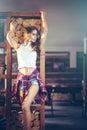 Seductive girl posing in bar Royalty Free Stock Photo