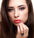 Seductive makeup woman with long hair Stock Photography