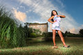 Seductive woman in the country house in the distance a beautiful south american model girl poses with a provocative and sensual Royalty Free Stock Images