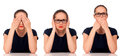 See no evil hear no evil speak no evil poses businesswoman in the Royalty Free Stock Image
