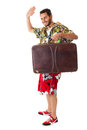 See ya a young attractive male in a colorful outfit ready to travel as a stereotype tourist Royalty Free Stock Images