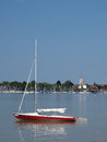 Seebruck lake chiemsee scene in germany church and sailing boats on Royalty Free Stock Photography