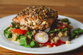 Seed crusted salmon fillet Royalty Free Stock Photo