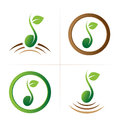 Seed logo symbol collection set of isolated vector green with green leaf and brown ground on white background ideal for corporate Stock Photography