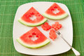 Seedless watermelon slices cut with leaf shape cutter for kids fun meal Stock Photography