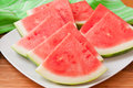 Seedless watermelon slices on a plate selective focus Royalty Free Stock Photos