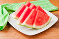 Seedless watermelon slices on a table selective focus Royalty Free Stock Photography