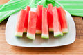 Seedless watermelon slices on a table selective focus Royalty Free Stock Images