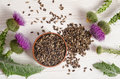Seeds Of A Milk Thistle With F...