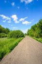 Seemingly endless sandy road in a rural area in summertime Royalty Free Stock Photo