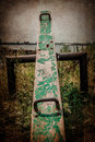Seesaw old on abandoned playground with grunge texture Royalty Free Stock Photos