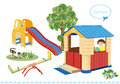 Seesaw, slider and house.