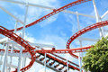 Segment of roller coaster with blue sky Stock Photo