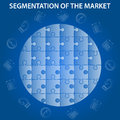Segmentation of market infographic on blue background puzzle world globe with economic icons strategy info document and planning Stock Photos